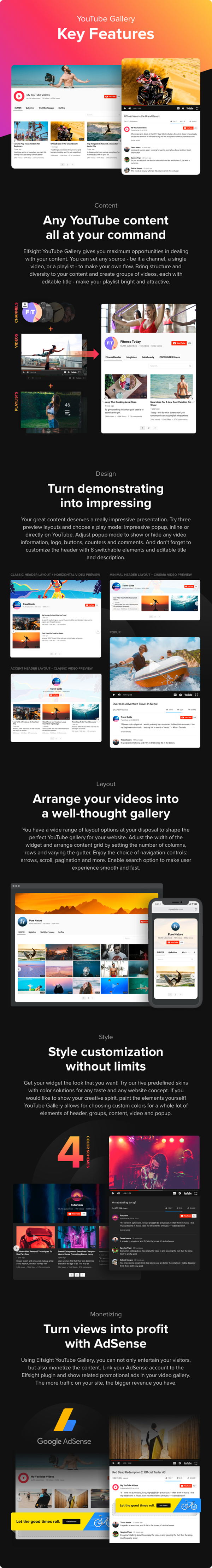 YouTube Gallery Features