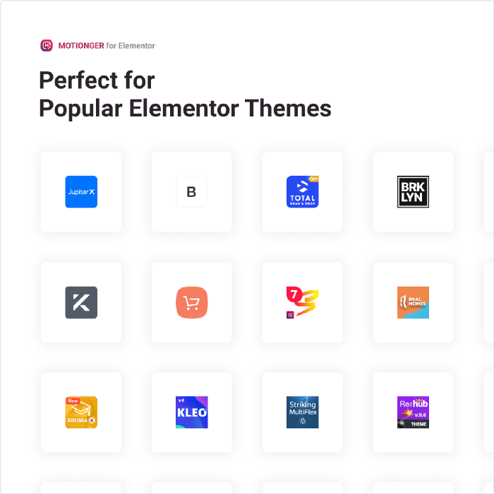 Motionger widget Perfect for Popular Elementor Themes