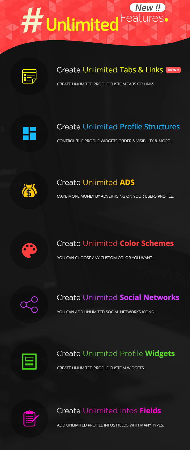Youzer Unlimited Features