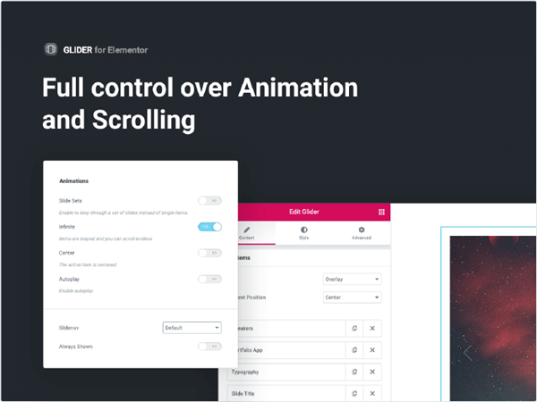 Control over animation and scrolling