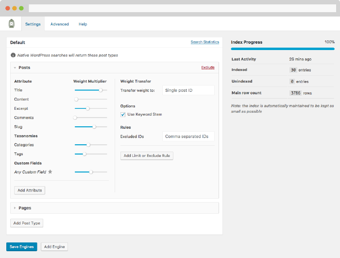Screenshot of SearchWP settings