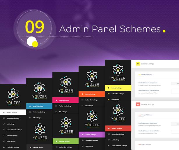 Youzer Admin Panel Schemes