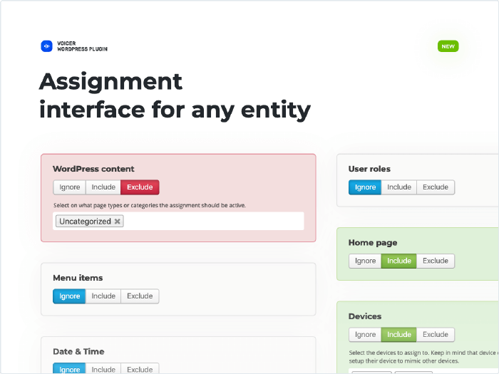Assignment interface for any entity