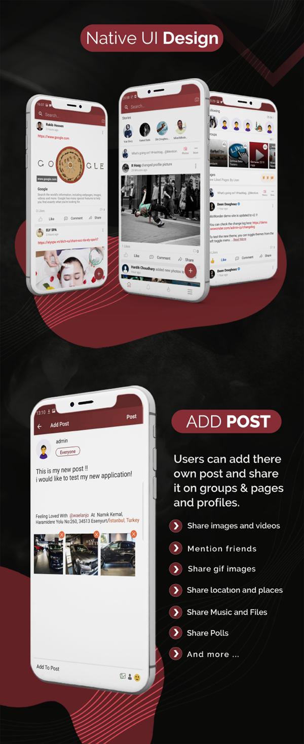 Mobile Native Social Timeline Applications - For WoWonder Social PHP Script - 3