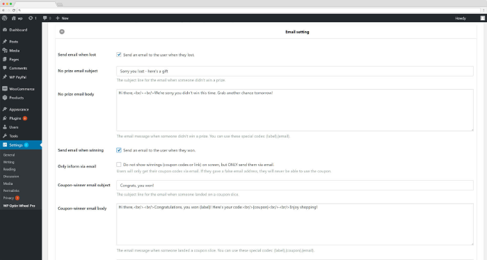 WP Optin Wheel email settings