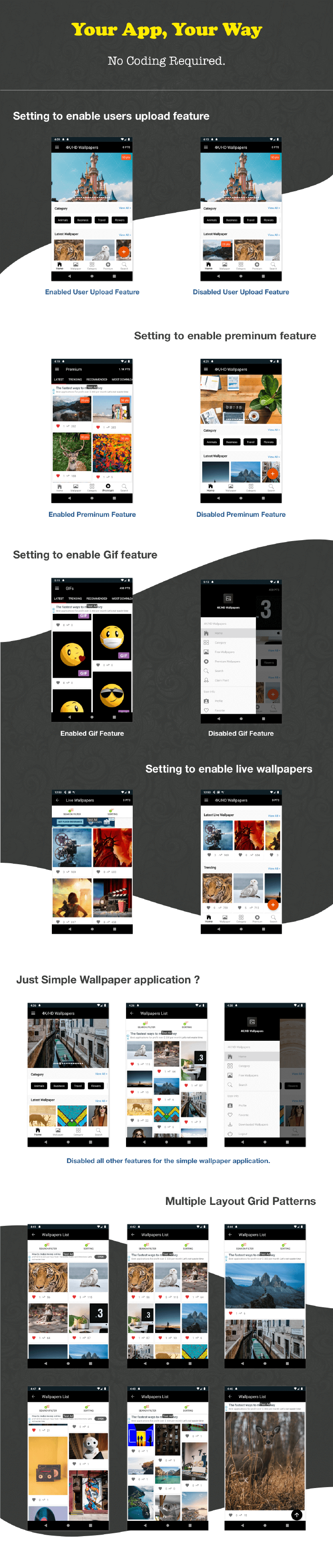 4K/HD Wallpaper Android App ( Auto Shuffle + Gif + Live + Admob + Firebase Noti + PHP Backend) 2.8 - 4
