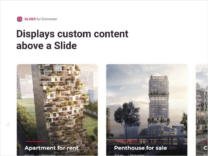 Displays a custom content above a Slide