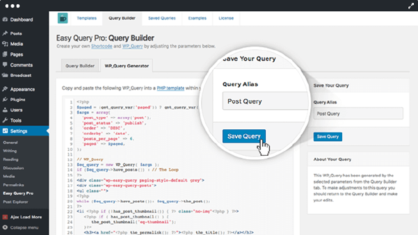 Easy Query Saved Query Interface