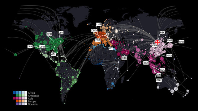 Worldwide spread simulation Coronavirus pandemic