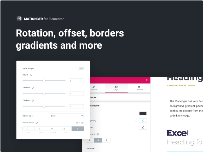 Rotation, offset, borders gradients and more