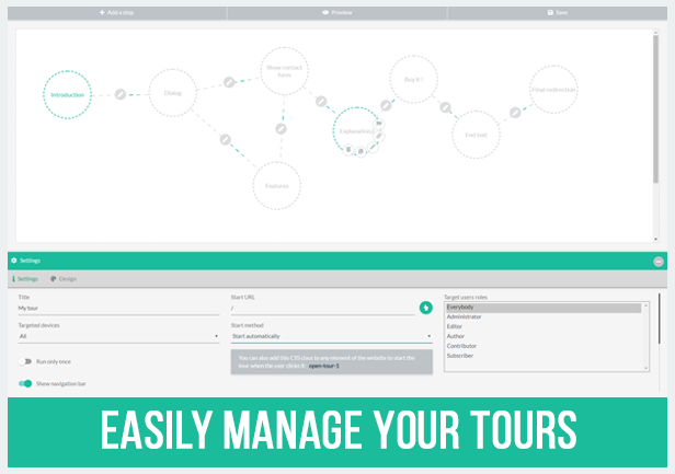 Easily manage your tour